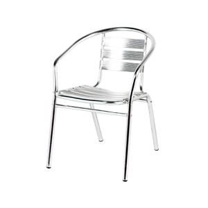Aluminium stacking chair for hire from Barny Lee Marquees