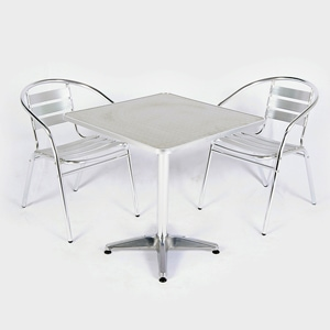 Aluminium table and chair set for indoor or outdoor use - for hire from Barny Lee Marquees