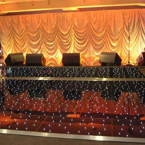 Black starlight dance floor for hire from Barny Lee Marquees