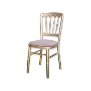 Cheltenham wooden chair with gold finish for hire for weddings and feasts