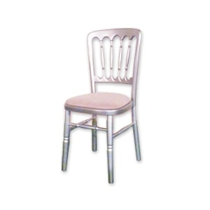 A wooden Cheltenham, chair in silver gilt finish for hire for weddings and events