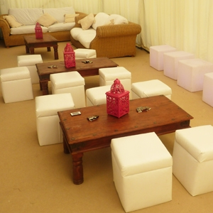 Cube package - set of four cube seats and a wooden Thakat table for hire