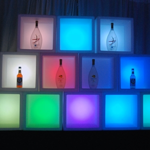 LED Glow Bar Cube Shelves for hire