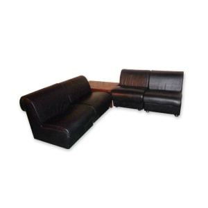 Leather set of furniture for hire for lounge areas at parties