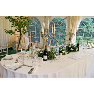 Oval table for events and used as head table for weddings - for hire from Barny Lee Marquees