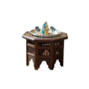 A low level wooden Moroccan Sheesham table