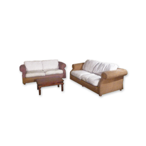 Wicker Sofas and wooden coffee table set to hire from Barny Lee Marquees