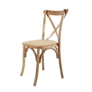 Attractive wooden crossback chair for hire for weddings and events