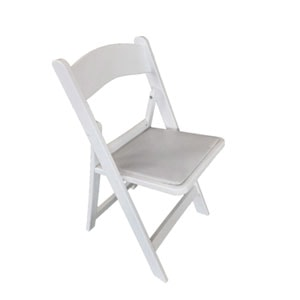 A white polyresin folding chair for hire for events