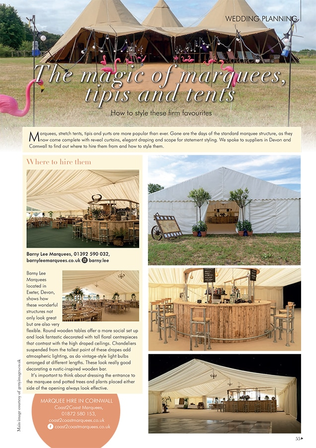 Your Devon and Cornwall WEdding magazine feature on Wedding Planning
