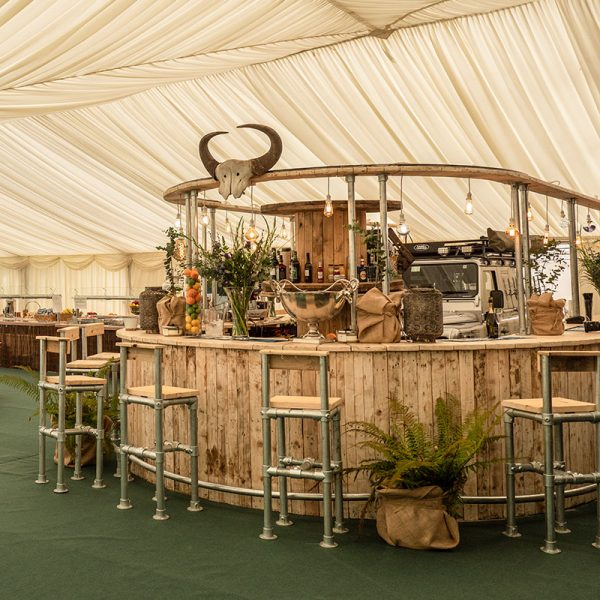 Rustic bar for hire - made from recycled pallets - by Barny Lee Marquees