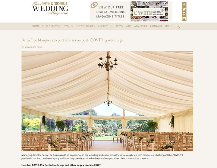 Barny Lee Marquees press coverage in Your Devon and Cornwall Wedding