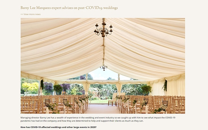 Barny Lee Marquees Covid-19 Advice for Weddings